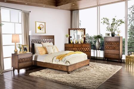 Furniture of America Kallisto CM7582EKBEDDMSC Bedroom Set Brown, Main View
