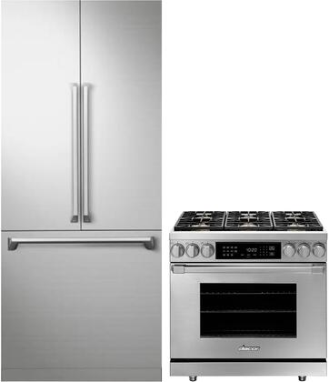 2 Piece Kitchen Appliances with DRF367500AP 36″ French Door Refrigerator and HDER36SNGH 36″ Gas Range in Stainless
