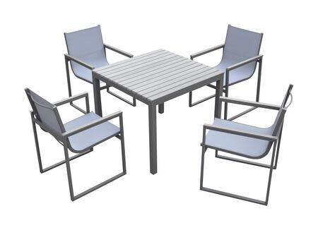 SETODBI Armen Living Bistro Dining Set Grey Powder Coated Finish (Table with 4