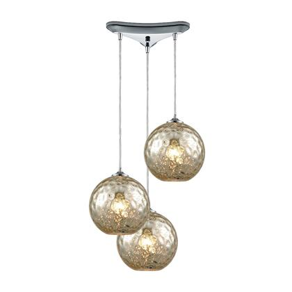 31380/3MRC Watersphere 3 Light Triangle Pan Fixture in Polished Chrome with Mercury Hammered