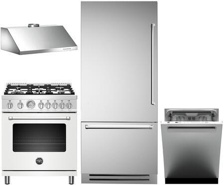 4 Piece Kitchen Appliances Package with REF36PIXL 36″ Bottom Freezer Refrigerator  MAST305DFMNEE 30″ Dual Fuel Range (Matte Black)  KG30CONX 30″ Wall
