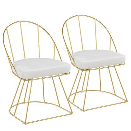 Canary Collection DC-CNRYAU+VW2 Set of 2 Dining Chairs with Velvet  Upholstery  Glam/Contemporary Style  Cage-Like Gold Tone Metal Base and Curved