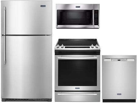 4 Piece Kitchen Appliances Package with MRT711SMFZ 33″ Top Freezer Refrigerator  MES8800FZ 30″ Electric Range  MMV5220FZ 30″ Over the Range Microwave