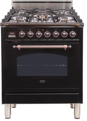 Ilve Nostalgie UPN76DVGGNY Freestanding Gas Range Black, UPN76DVGGNY Gas Range