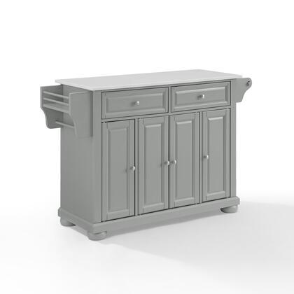 Alexandria Collection KF30205AGY Granite Top Kitchen Island/Cart in Gray