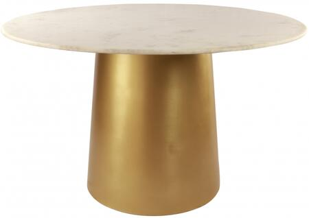 Sorrento 727-T 50″ x 50″ Dining Table with Marble Top and Metal Pedestal Base in Brushed