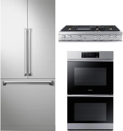 3 Piece Kitchen Appliances Package with DRF367500AP 36″ French Door Refrigerator  DOB30M977DS 30″ Electric Double Wall Steam Oven and DTT48M976AS 48″
