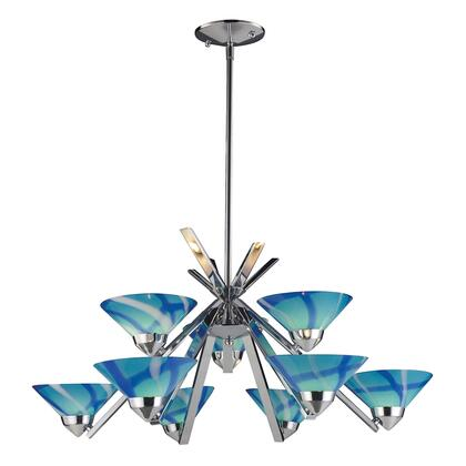 1476/6+3CAR Refraction 6+3-Light Chandelier in Polished Chrome with Carribean