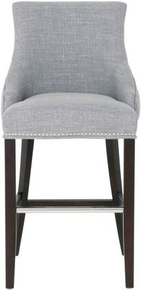 Villa Collection 7147-BSUP.SMK-PSL Avenue Bar Height Stool with Nail Head Trim  Metal Plated Front Foot Rest  Espresso Solid Birch Wood Frame and