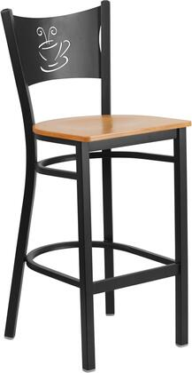 XU-DG-60114-COF-BAR-NATW-GG HERCULES Series Black Coffee Back Metal Restaurant Barstool - Natural Wood