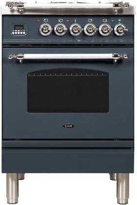 Ilve Nostalgie UPN60DMPGUXLP Freestanding Dual Fuel Range Blue Grey, Blue Grey Dual Fuel Range