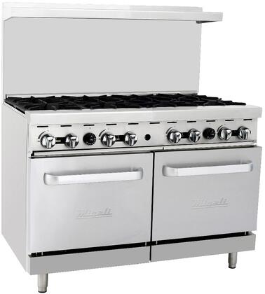 """C-RO8-NG 48"""" Freestanding Natural Gas Range with Eight 25 000 BTU Burners and Two 27000 BTU Ovens in Stainless"""