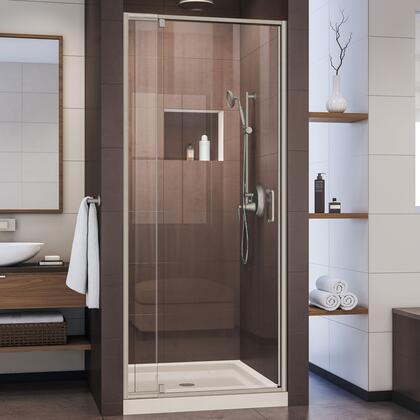 DL-6215C-22-04 Flex 32″ D x 32″ W x 74 3/4″ H Semi-Frameless Pivot Shower Door in Brushed Nickel and Center Drain Biscuit