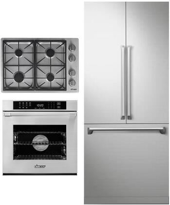 3 Piece Kitchen Appliances Package with DRF367500AP 36″ French Door Refrigerator  HWO127ES 27″ Electric Single Wall Steam Oven and HDCT304GSNG 30″