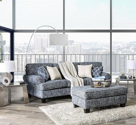 Furniture of America Porth SM80102SFSET Living Room Set Blue, Living Room Set