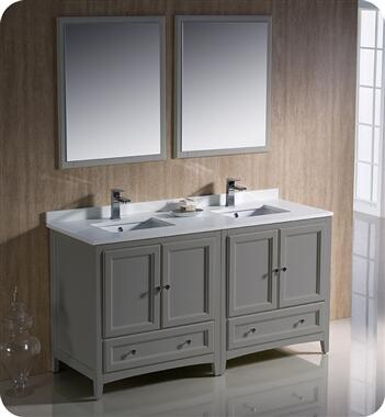 Oxford Collection FVN20-3030GR 60″ Grey Traditional Double Sink Bathroom