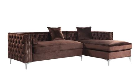 Bosch Collection FSA2870-AC 102″ Right Facing Sectional Sofa with Throw Pillows Included  Chrome Y-Shaped Legs  Nail Head Trim  High Density Foam
