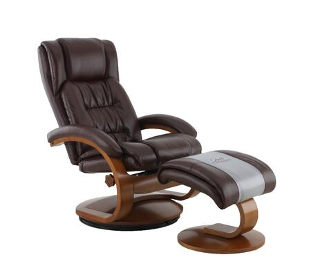Norfolk Collection NORFOLK051099 Recliner and Ottoman with Reclines  Swivels  Memory Foam Seating  Quality Breathable Air Leather and Angled Ottoman