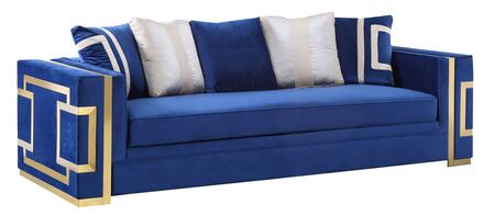 3035BLLAW LAWRENCE-SOFA Cosmos Furniture Lawrence Transitional Style Navy Blue Sofa with Gold