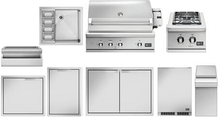 9 Piece Outdoor Kitchen Equipment Package with BE136RCN 36″ Built-In Natural Gas Grill  BGC132BIN 15″ Gas Side Burner  RF24RE3 24″ Compact