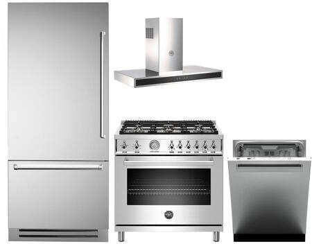 4 Piece Kitchen Appliances Package with REF36PIXL 36″ Bottom Freezer Refrigerator  PROF366GASXT 36″ Gas Range  KG36CONX 36″ Wall Mount Convertible