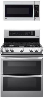 """2 Piece Kitchen Appliances Package with LDG4313ST 30"""" Gas Range and LMV2031SS 30"""" Over the Range Microwave in Stainless"""