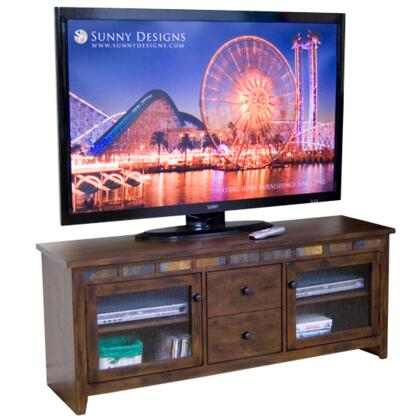 Oxford Collection 3398DO-62 62 TV Console With Natural Slate  Waterfall Glass Doors  Adjustable Shelves And Combo Drawer In Dark Oak