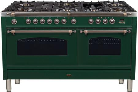 """UPN150FDMPVSYLP 60"""" Nostalgie Series Dual Fuel Liquid Propane Range with 8 Sealed Burners 5.99 cu. ft. Total Capacity True Convection Oven Griddle"""