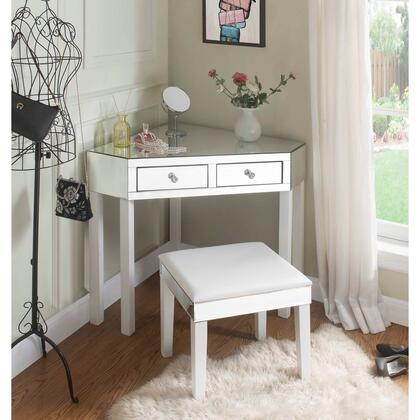 Perry Collection JF97-07WE-AC Mirrored Vanity Table with 2 Drawers  Transitional Style and Stool Included in White