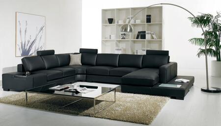 VIG Furniture Divani Casa T35 VGYIT35BLKECO Sectional Sofa Black, Main Image