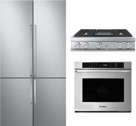 3 Piece Kitchen Appliances Package with DRF427500AP 42″ French Door Refrigerator  HWO130PS 30″ Electric Single Wall Steam Oven and DTT36M974LS 36″