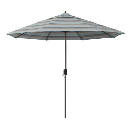 Casa Collection ATA908117-58039 9′ Patio Umbrella With Bronze Aluminum Pole Aluminum Ribs Auto Tilt Crank Lift With Sunbrella 1A Gateway Mist
