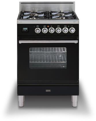 Ilve Professional Plus UPW60DVGGNLP Freestanding Gas Range Black, UPW60DVGGNX Professional Plus Range