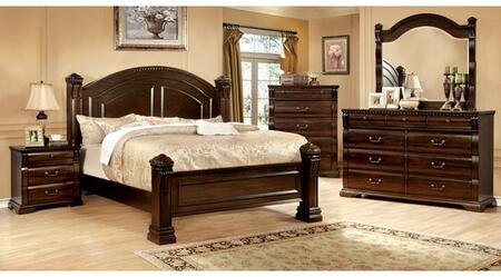 Furniture of America Burleigh CM7791KBDMCN Bedroom Set Brown, Main Image