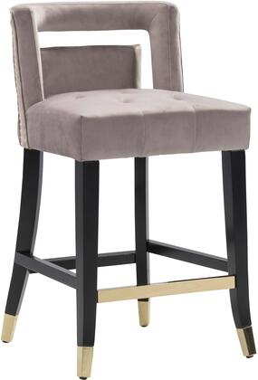 Irrithel Collection FCS9496-AC Counter Height Stool with Gold Tone Footrest  Gold Tip Tapered Legs  Nail Head Trim  Plush Multi Density Foam Filled