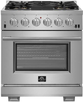 FFSGS6187-30 30″ Stainless Steel Pro-Style Dual Fuel Range with 4.32 cu. ft. Capacity  5 Italian Defendi Brass Burners  Convection Fan and Cast Iron