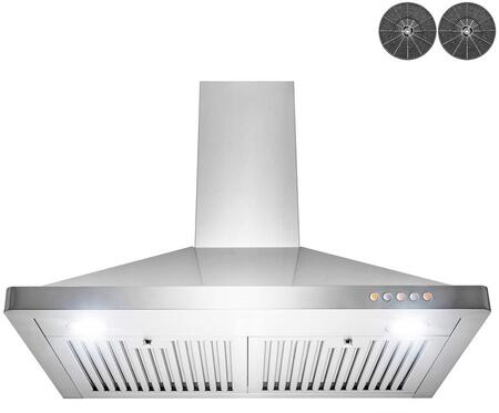 RH0431 30″ Wall Mount Range Hood with 312 CFM  LED Lighting  3 Speed Levels and Push Button Controls in Stainless
