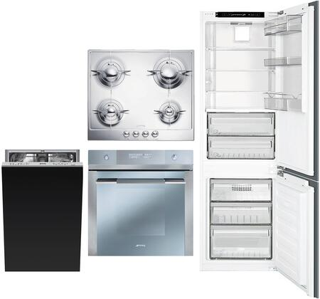 4 Piece Kitchen Appliances Package with CB300U 22″ Bottom Freezer Refrigerator  FU675 24″ Electric Single Wall Convection Oven  PU64ES 24″ Gas