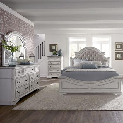 Liberty Furniture Magnolia Manor 244BRKUBDMC Bedroom Set White, 244 br qubdmc
