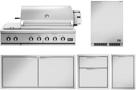 5 Piece Grill Package with 48″ Gas Grill  30″ Access Door  20″ Storage Drawer  Trash Drawer and 24″ Compact Refrigerator in Stainless