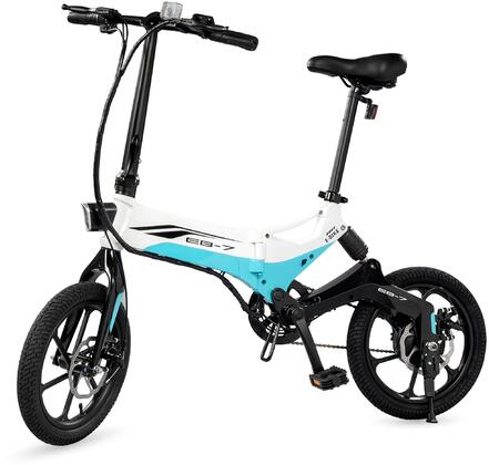 EB7WHT 16″ Folding Electric Bike with 15.5 Mile Range  Height Adjustable and Accommodates Up To 264 lbs. in