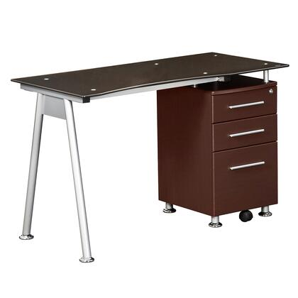 RTA-1565-CH36 Stylish Brown Tempered Glass Top Computer Desk with Storage  in