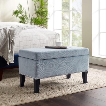 Linon Stephanie BH175BLU01U Living Room Ottoman , BH175BLU01U.EV10