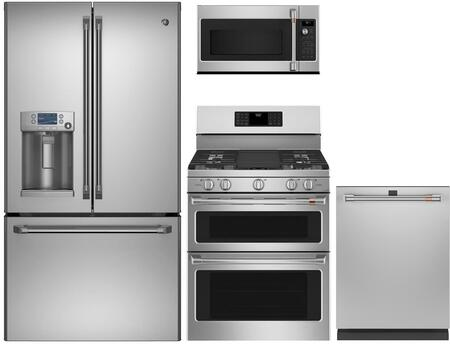 4 Piece Kitchen Appliances Package with CFE28TSHSS 36″ French Door Refrigerator  CGB550P2MS1 30″ Gas Range  CVM521P2MS1 30″ Over the Range Microwave