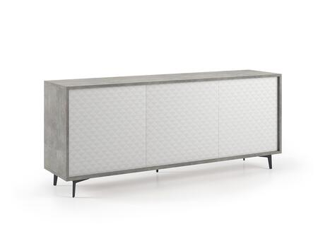 Lenox Collection KD180G 72″ Buffet-Server with 3 Push Closing Pattern Melamine Doors  3 Shelves  Top Commercial Particle Board and Concrete Grain