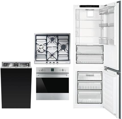 4 Kitchen Appliances Package with CB300U 22″ Bottom Freezer Refrigerator  SF399XU 24″ Electric Single Wall Convection Oven  SR60GHU3 24″ Gas Cooktop