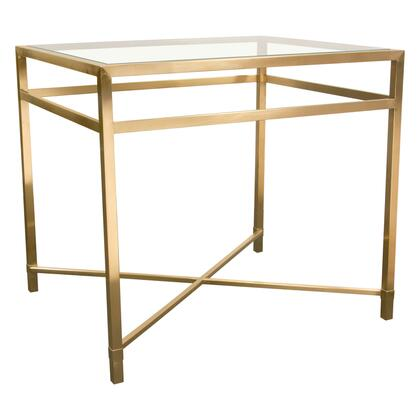 """Croft_Collection_CROFTETGD_26""""_Rectangular_End_Table_with_Clear_Glass_Top__and_""""X""""_Crossed_Support_Base_in_Brushed"""