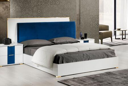 Olympia Collection OLYMP-QNBED-WH-21 White Queen Size Bed with Blue Upholstered Velvet Headboard and Gold Metal