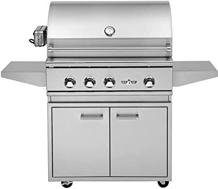 DHBQ32R-DL 32″ Freestanding Liquid Propane Grill with Three Stainless Steel U-Burners  Rotisserie  525 sq. in. Grilling Space  Warming Rack and LED