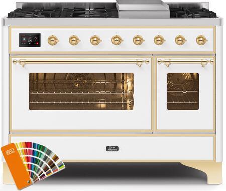 Ilve Majestic II UM12FDNS3RALGLP Freestanding Dual Fuel Range Custom Color, UM12FDNS3RALGLP-Front-CD-A